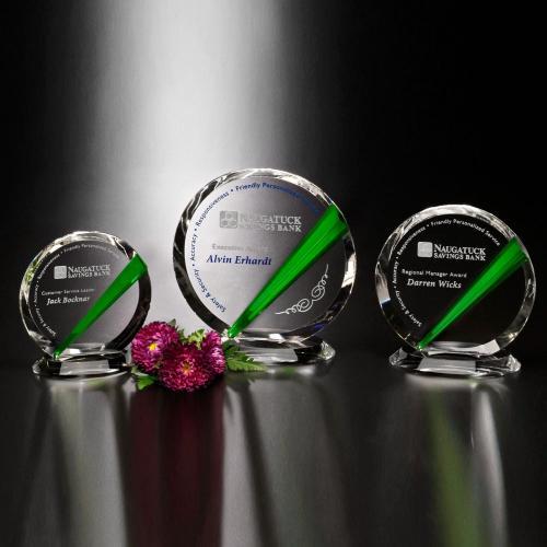 Danbury Emerald Green Optical Crystal Circle Award