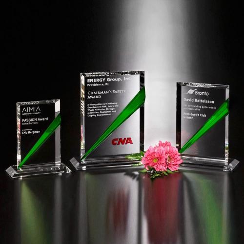 Danbury Emerald Green Optical Crystal Rectangle Award