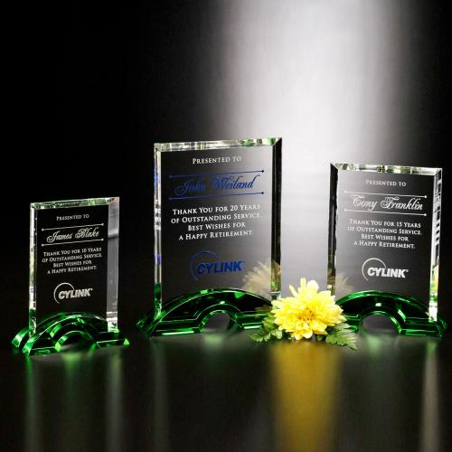 Greenbrier Optical Crystal Rectangle Award on Emerald Arch Base