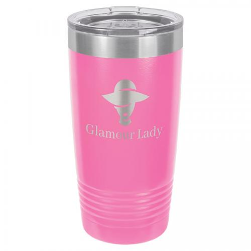 Polar Camel 20 oz. Pink Ringneck Vacuum Insulated Tumbler with Clear Lid