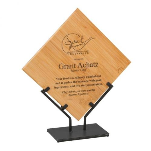 Bamboo Square Plaque with Iron Stand