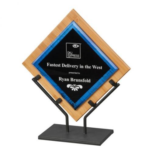 Blue Galaxy Acrylic Square Diamond Award with Iron Stand