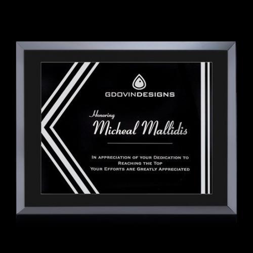Avonlea Gemini Black Glass Award with Silver Accents