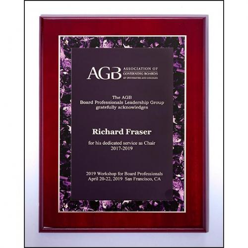 Vertical Rosewood High Luster Plaque with Violet Marble Border