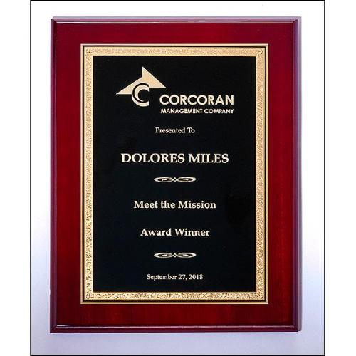 Rosewood High Luster Plaque with Black Plate in Gold Metal Frame