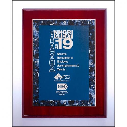 Vertical Rosewood High Luster Plaque with Blue Marble Border