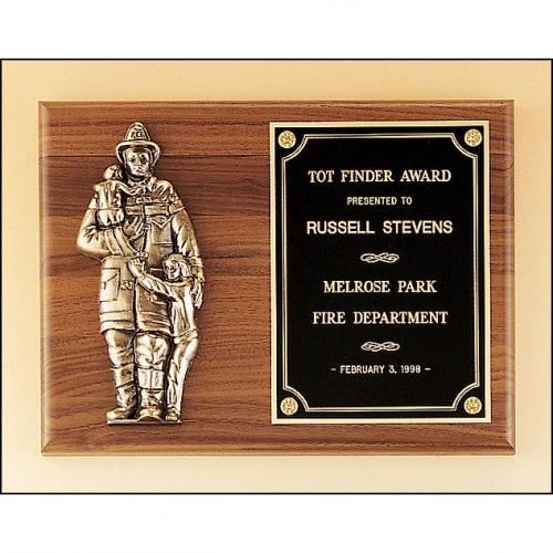 Firefighter Wooden Recognition Plaque with Bronze Finish Fireman