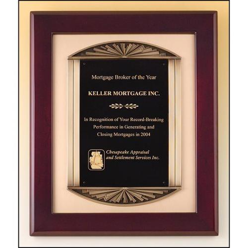 Piano Finish Rosewood Rectangle Frame Plaque with Bronze Accents