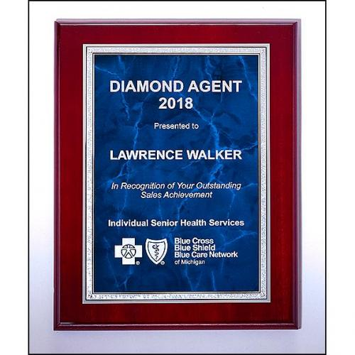 Rosewood High Luster Plaque with Blue Marble in Silver Metal Frame