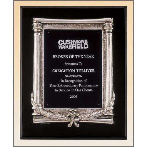 Black Aluminum Plate Plaque with Silver Finish Frame