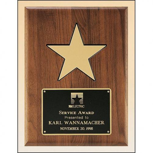 Solid American Walnut Wood Plaque with Gold Aluminium Star
