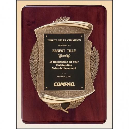 Rosewood Black Plate Plaque with Bronze Frame