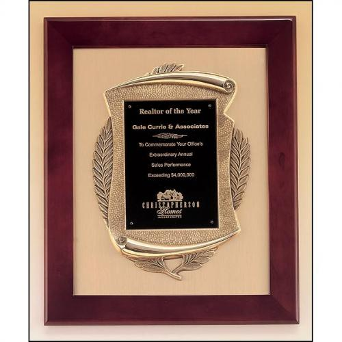 Rosewood Piano Finish Frame Plaque with Bronze Details