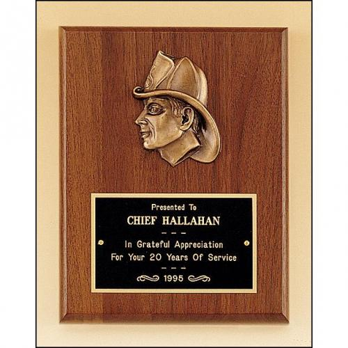 Firematic Fireman Award Plaque with Bronze Finish Casting