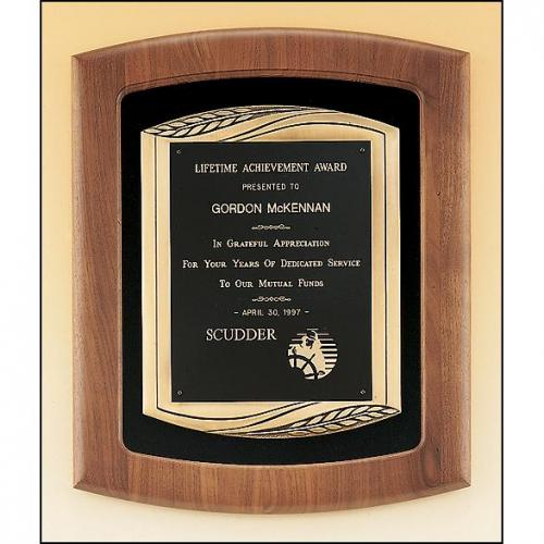 Solid American Walnut Frame Plaque with Bronze Details