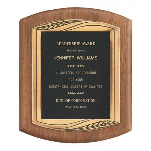 American Walnut Wood Plaque with Bronze Details