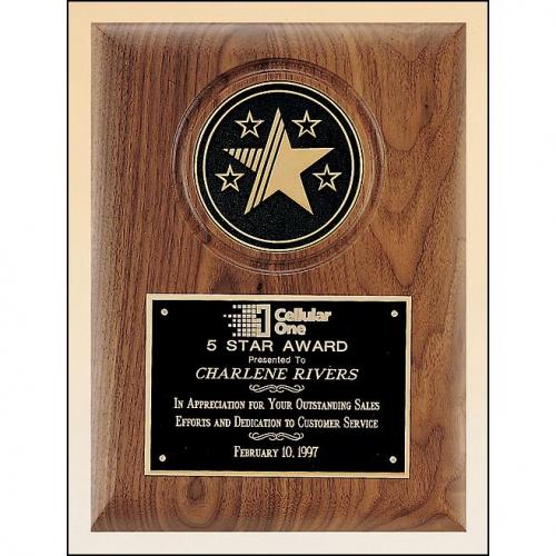 Walnut Plaque with Black Etching Plate and Bronze Stars Awards