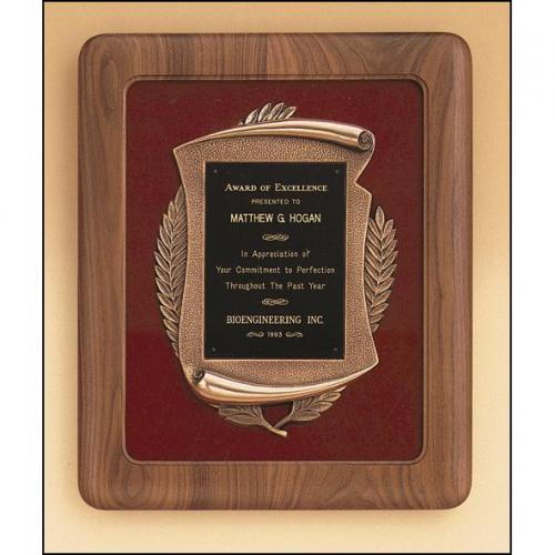 Solid American Walnut Wood Frame Plaque with Bronze Details