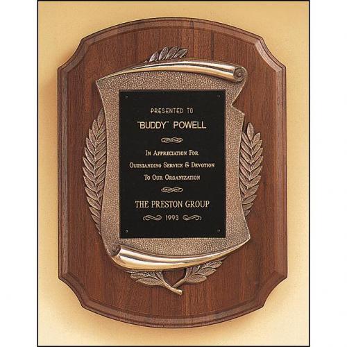 American Walnut Wood Plaque with Bronze Deatils
