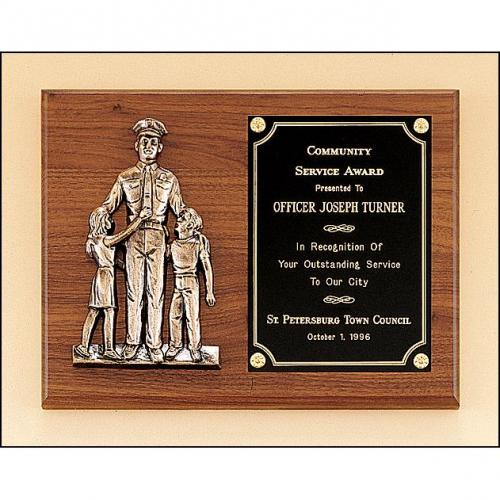 Police Wood Award Plaque with Bronze Finish