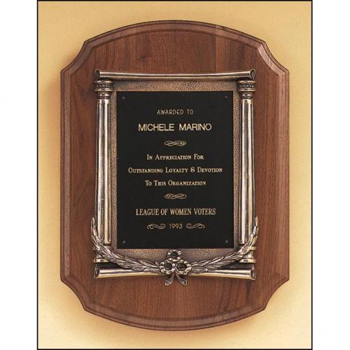 Solid American Walnut Plaque Awards with Bronze Casting