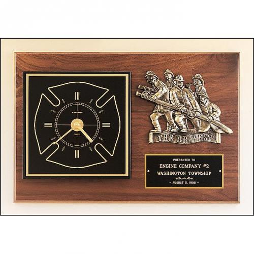 Firematic Award Plaque with Clock & Bronze Details