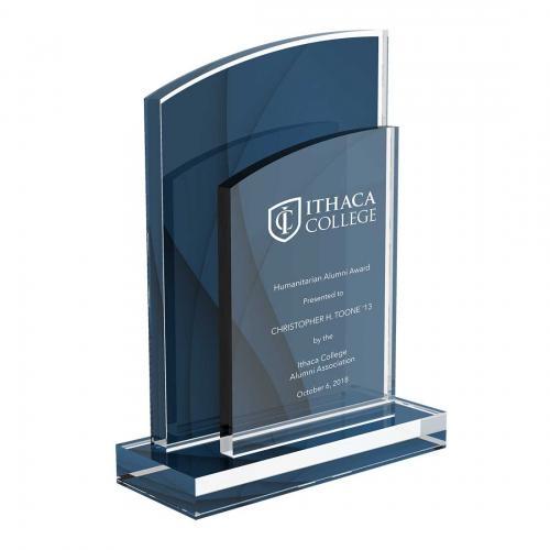 Ithaca College Custom Blue Acrylic Award