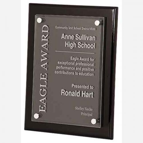 Black Piano Finish Award with Floating Rectangle Acrylic Plaque