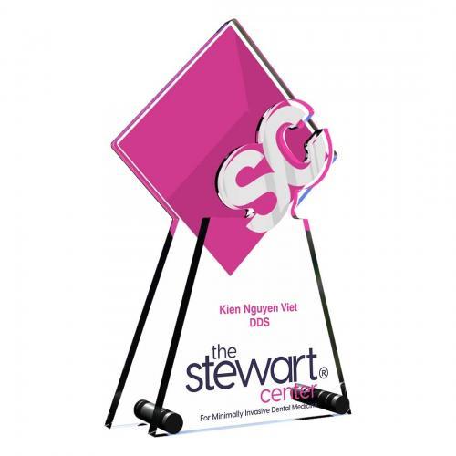 Pink Stewart Center Custom Acrylic Award