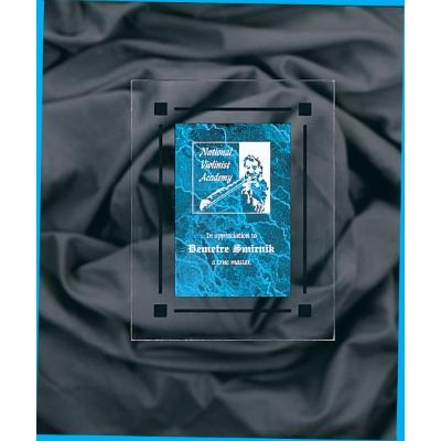 Blue Marble & Clear Acrylic Rectangle Acrylic Plaque with Black Border