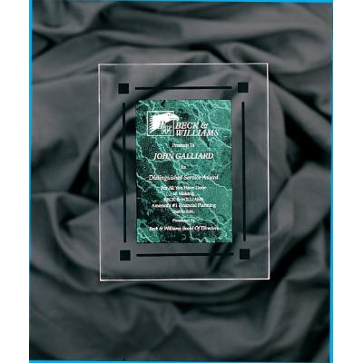 Green Marble & Clear Acrylic Rectangle Plaque with Black Border