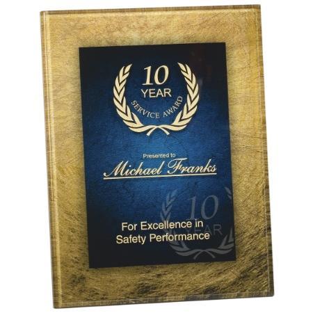 Blue & Gold Acrylic Rectangle Plaque Award with Gold Border