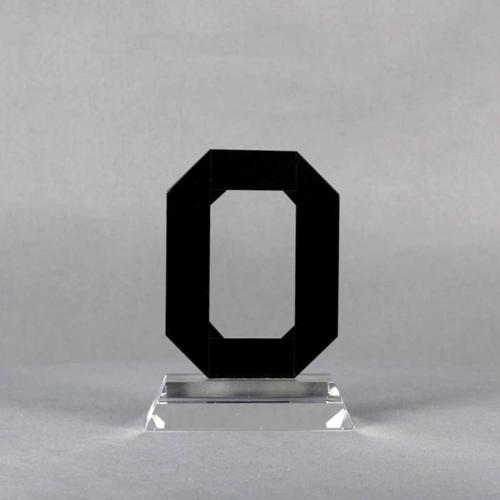 Clear & Black Crystal Ohio State Custom Logo