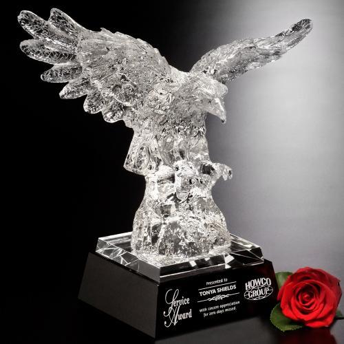 Clear Optical Crystal Majestic Military Eagle Award on Black Base