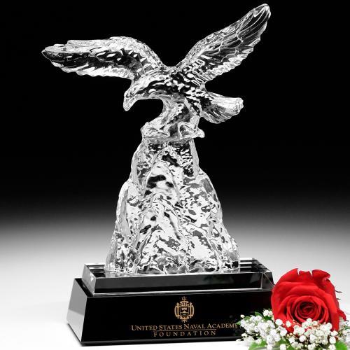 Clear Optical Crystal Challenge Eagle Award on Black Base