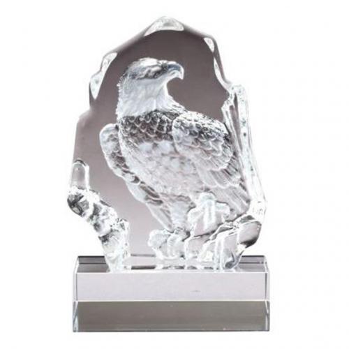 Small Optical Crystal Sculpted Eagle Award on Clear Base