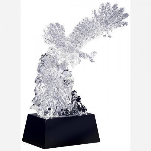 Clear Optical Crystal Soaring Eagle Award on Black Crystal Base