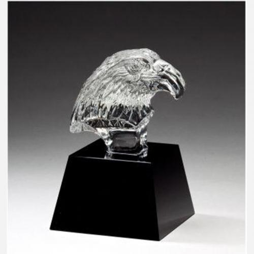 Optical Crystal Eagle Bust Award on Black Crystal Base