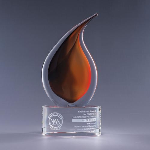 Flare Flame Art Glass Award on Clear Optical Crystal Base