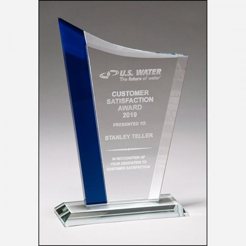 Zenith Series Clear Jade Glass Award with Blue Highlights