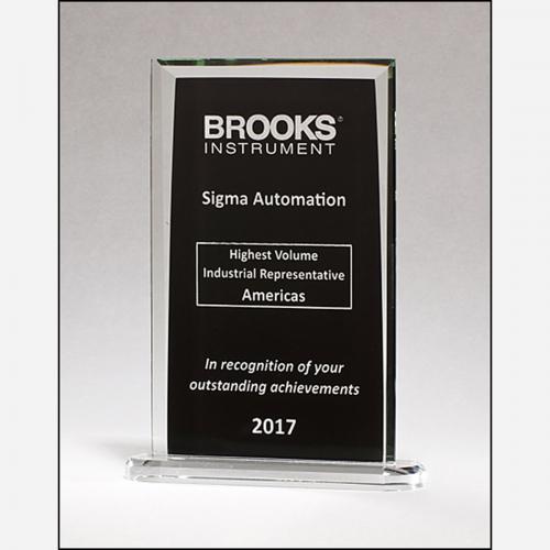 Black Rectangular Glass Award with Clear Border