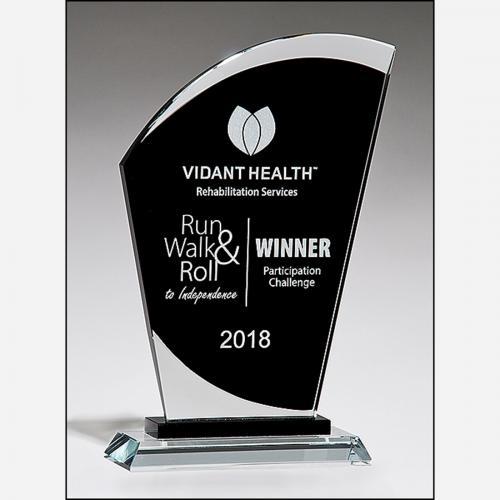 Clear & Black Glass Sail Shaped Award