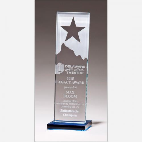 Clear Glass Star Mountain Award on Blue Glass Base