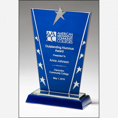 Constellation Series Blue Glass Award with Chrome Stars