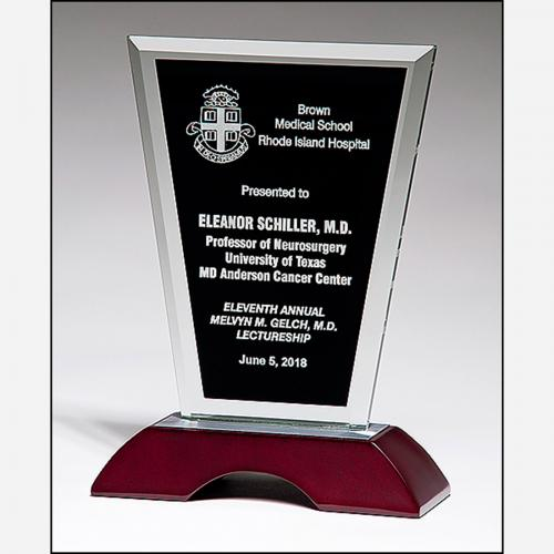 Clear Glass Award with Black Silk Screen & Wooden Base