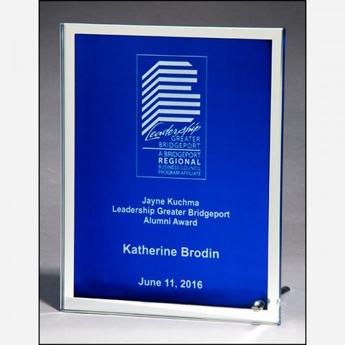 Glass Plaque Award with Blue Silk Screen & Mirror Border