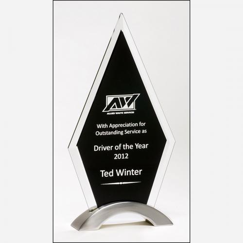 Clear & Black Glass Diamond Series Award on Silver Aluminum Base