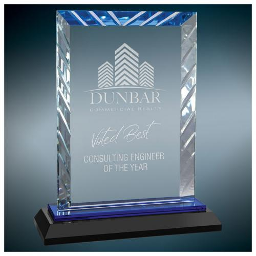 Glass Rectangle Award with Blue Accents