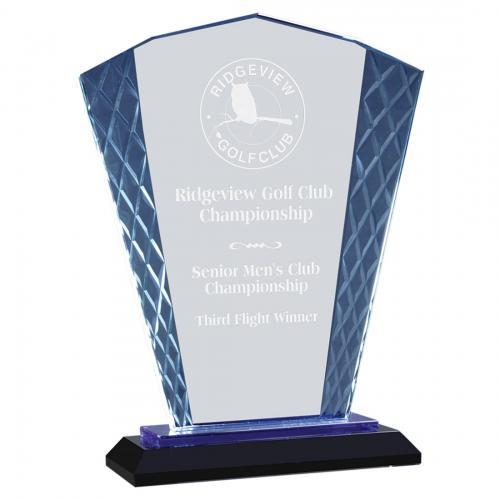 Fan Accent Glass Diamond Award on Blue & Black Base