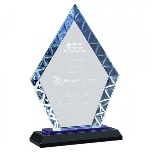 Diamond Accent Glass Award on Blue & Black Base